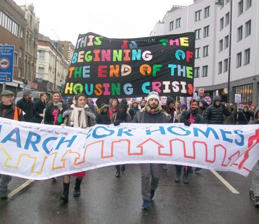 3,000 tenants march on London's City Hall to demand an end to huge rent rises and evictions. There were two marches, one from north east London, the other from south east London