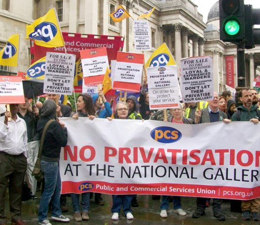 National Gallery staff rally outside the gallery at the start of their strike against privatisation in July last year