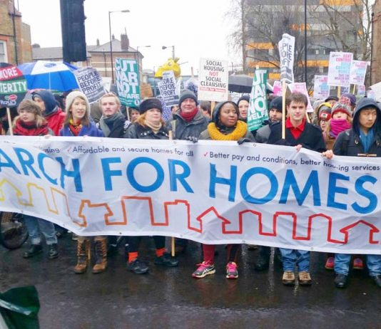Last Saturday's 3,000-strong 'March for Homes' to the London Mayor's office at City Hall by Tower Bridge