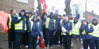 The picket line at Harrow yesterday morning – RMT members respected the picket line
