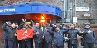 Confident Shepherd's Bush pickets at Goldhawk Road tube station