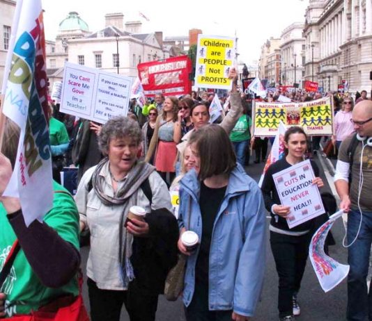 Teachers marching in London against education cuts
