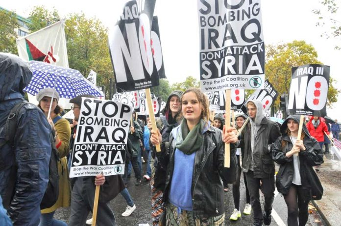 Youth marching in London last October against any troops being sent to Syria or Iraq