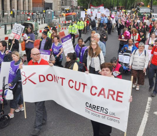 Disabled and care workers demonstrate against cuts