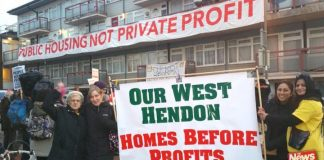 West Hendon tenants defending their homes condemning the private landlords who are trying to remove them