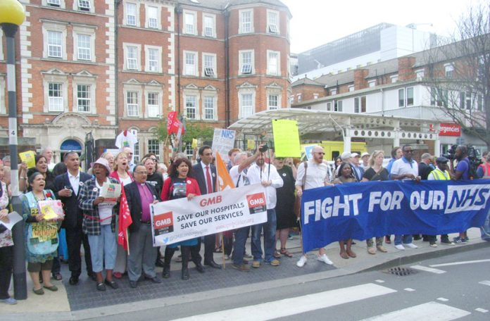 Demonstration outside Hammersmith Hospital in west London on July 31. The A&E was closed on September 10, one of the reasons given by the Trust was that there was no full time A&E consultant cover