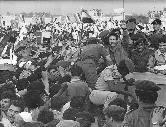 Libyans in happier times with Colonel Gadaffi celebrating the anniversary of the 1969 revolution on September 1st 1987