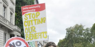 Youth on the TUC march last October demand an end to the attack on the Welfare State