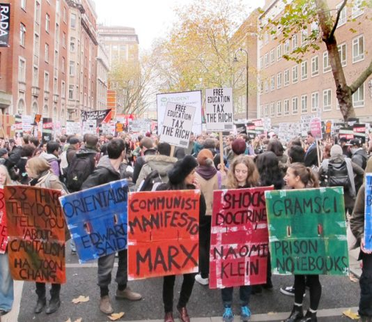 Students on a demonstration in central London fighting against fees demonstrate their defence of the arts