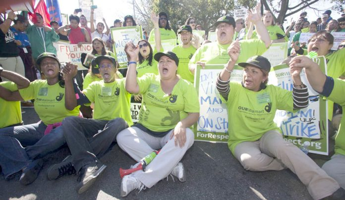 Walmart workers taking strike action over pay in Los Angeles on Black Friday