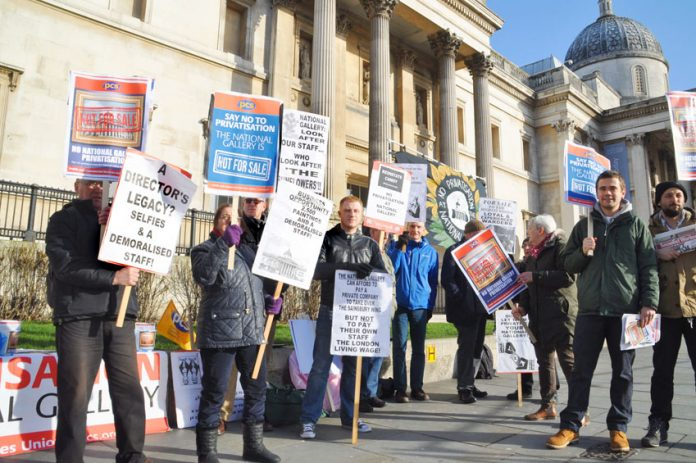 PCS strikers at the National Gallery yesterday morning, the second day of their second 5-day strike for the London Living wage and against privatisation
