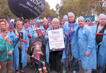 Workers and their familes on last October's TUC demonstration demanding a living wage – the Bakers Union warn the TUC  to carry out its Congress decision and fight for £10 an hour minimum wage