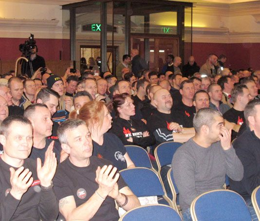 A section of the packed audience of striking firefighters at yesterday's lunchtime rally at Central Hall, Westminster