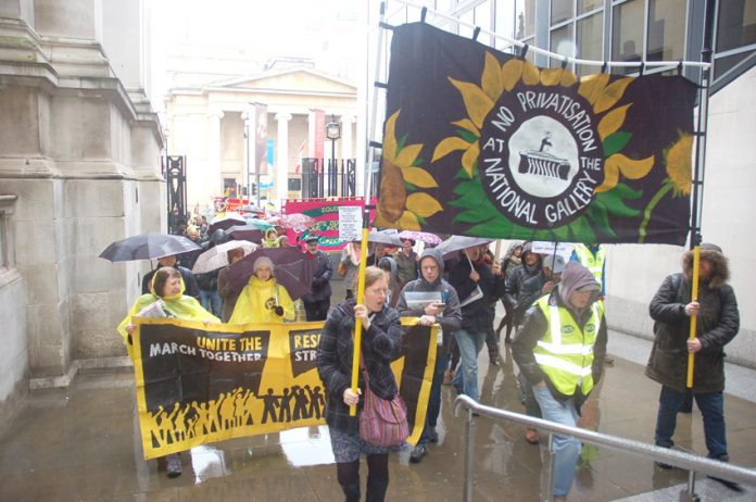 A section of the march of PCS strikers and supporters as they headed from the National Gallery's Sainsbury wing yesterday