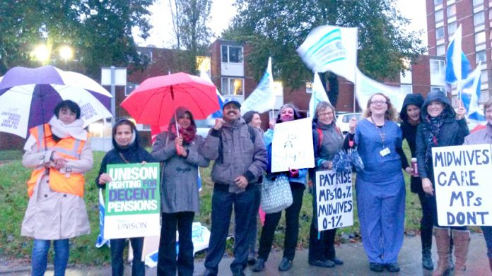 Ealing Hospital midwives on the picket line on the national NHS pay strike last October