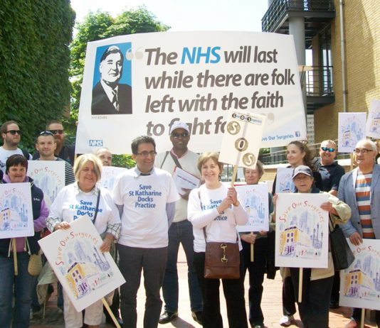 GPs in Tower Hamlets in a demonstration against the sell-off of GP surgeries