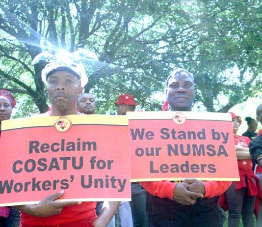 Numsa members support their union's leadership