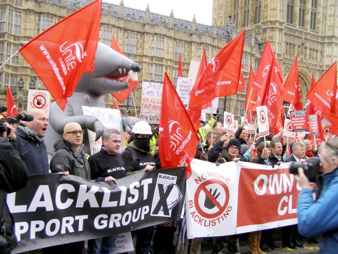 Lobby of parliament on November 20 2013 demanding an end to the blacklisting of trade unionists