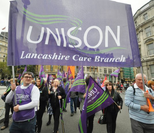 Lancashire care workers on a TUC demonstration demanding an increase in their wages