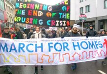 Thousands marched from Shoreditch Church and from south east London to City Hall to demand an end to evictions and council homes for all