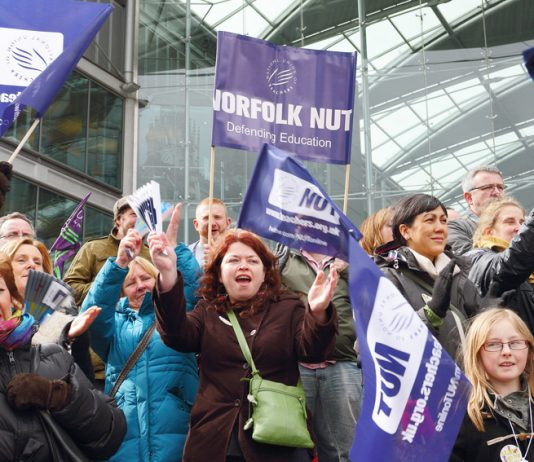 Teachers rally in Norwich during the strike in March last year – they are opposing Free Schools