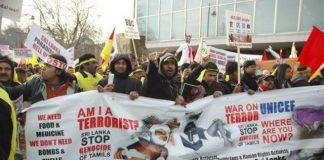 Tamil demonstration in London against the Sri Lankan regime's massacre of civilians in 2009