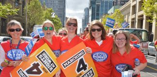 Australian Nursing and Midwifery Federation, Victoria branch, members hit the streets to make their voices heard on the March 4 national day of action