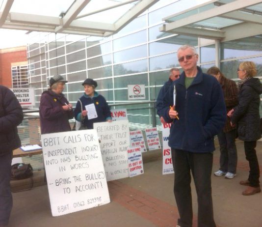 'Betrayal By The Trust' protest outside the Worcester Royal Hospital on Thursday