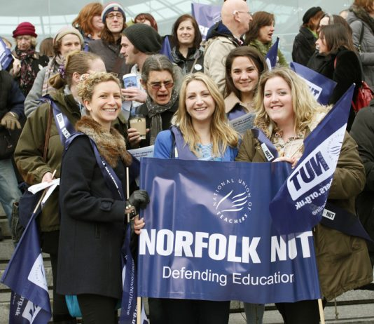 Teachers on strike in Norwich last year – the NUT is opposed to Free Schools and Academies and demands properly funded conncil-run state schools