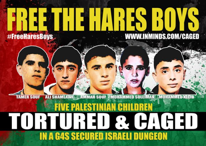 Poster campaigning for the release of the five 'Hares Boys' imprisoned by the Israeli state