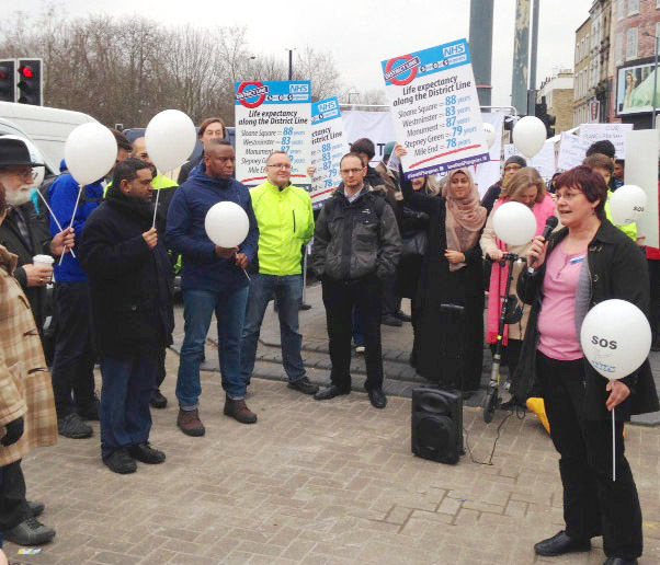 Limehouse surgery practice nurse JUNE GRAY addressing yesterday's protest against cuts to east London GP surgeries