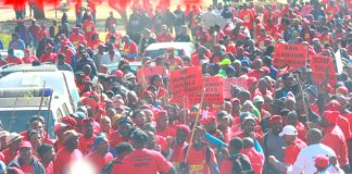 NUMSA members during the national engineering pay strike in July last year