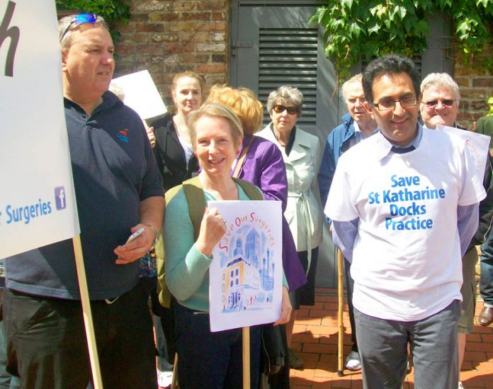 Tower Hamlets demonstration against the closure and sell-off of GP surgeries