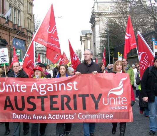 Trades unions marching in Dublin against austerity measures on workers to save the banks