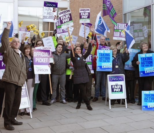 NHS workers in Norwich picket during the recent strike action – they are determined to prevent the privatisation of the NHS