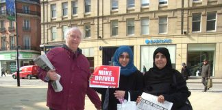 Sheffield Central WRP candidate MIKE DRIVER campaigning in the city centre yesterday