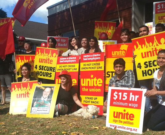 Unite Union of New Zealand has led mass actions of fast food workers