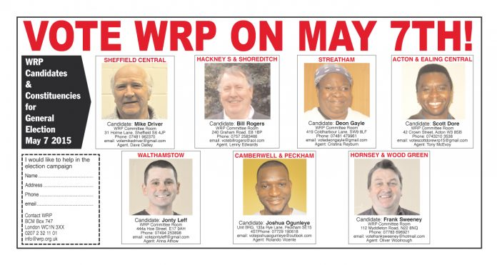 Wrp General Election Campaign Underway