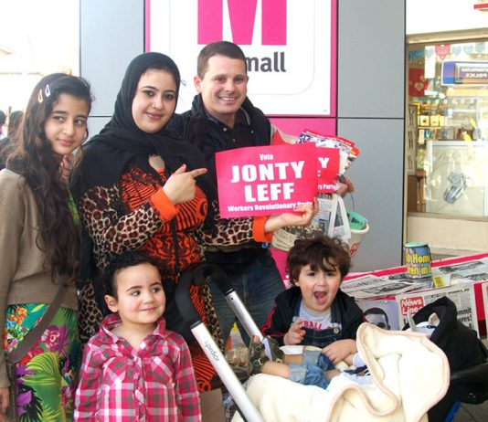 FATIHA LAIDI and family supporting Workers Revolutionary Party candidate for Walthamstow JONTY LEFF