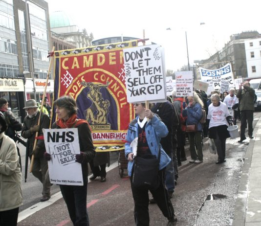 GP's and local people in Camden campaigning against the closure of GP surgeries