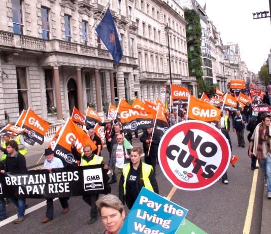 GMB members on a TUC demonstration against Tory cuts and demanding a decent pay rise