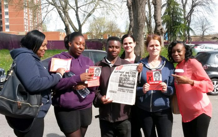 Trainee Health Care Assistants at Ealing Hospital, NADINE, LORRAINE, BETH, PAULA and FALIANE with WRP candidate SCOTT DORE