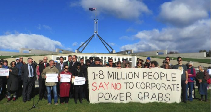 The petition against the TPP being delivered to the Australian parliament in Canberra
