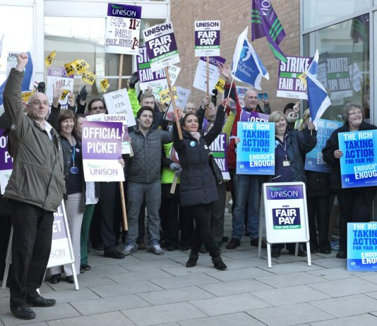 NHS staff at the Norfolk and Norwich Hospital strike for everybody to get a one per cent pay increase!