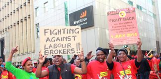 NUMSA youth striking for decent wages. Their union has condemned xenophobic attacks