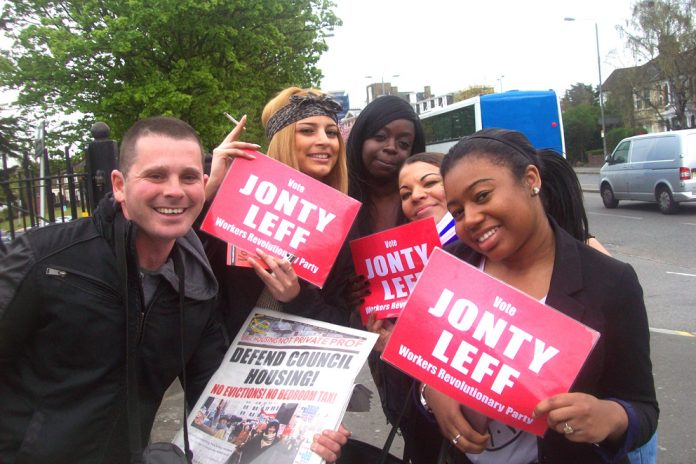 Walthamstow students show their support for WRP candidate Jonty Leff and WRP policies yesterday