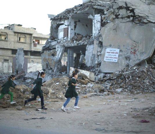 Gazan children running for their lives