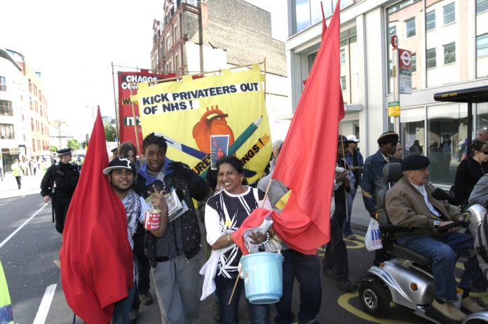 Young Socialists march demanding kick the privateers out of the NHS