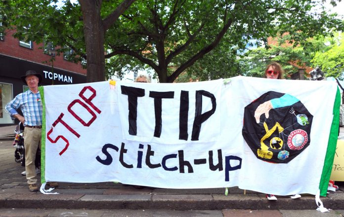 A demonstration in Norwich against TTIP which the EU and US want to impose on Europe