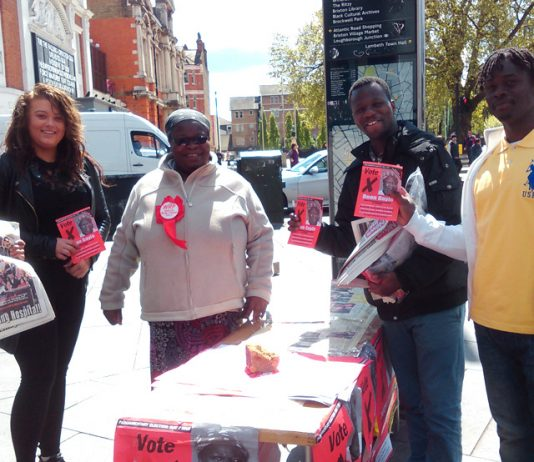 Deon Gayle WRP candidate for Streatham got a great response campaigning with her team in the centre of Brixton yesterday